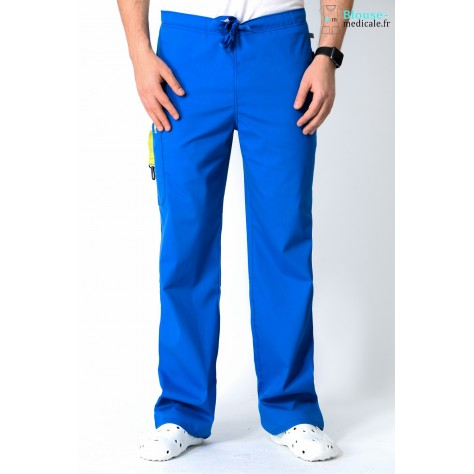 Pantalon Médical Homme Anti Tâches Code Happy Bleu Royal16001AB