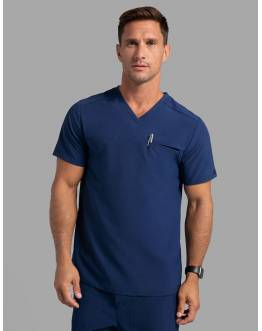 "Tunique Jaanuu Homme ""Refined V-Neck Top"" Bleu Marine Ancienne Collection"