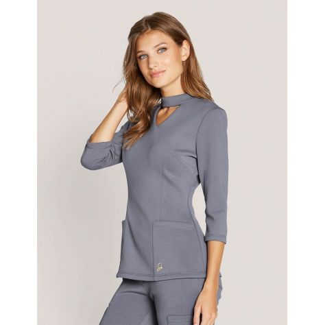 "Tunique Jaanuu ""Mock Neck Top"" Gris Clair Collection Ponte"